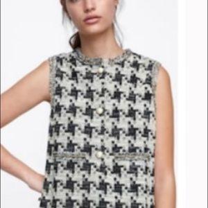 NWT Zara sleeveless houndstooth dress